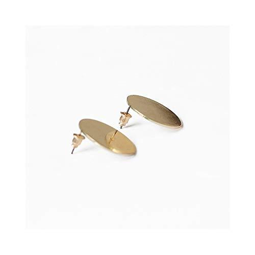 (Minimalist Glossy Geometric Big Round Stud Earrings for Women Girls Fashion Charm Gifts (Gold))