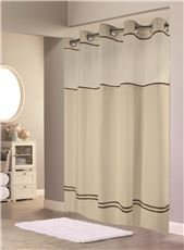 Beige Stripes Snap (HOOKLESS ESCAPE SHOWER CURTAIN WITH SNAP-IN LINER, SAND WITH BROWN STRIPE, 71 IN. X 74 IN.)