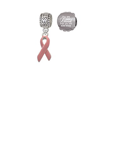 Pink Ribbon Best Friend Charm Bead with You Are More Loved Bead (Set of 2)