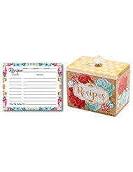 Pioneer Woman Recipe Box Gift Bundle, 50 Blank Recipe Cards, Recipe Cards Storage Box Organizer, Wooden Recipe Box, Unique Ideas, Kitchen Vintage Recipe Holder, Floral Recipe Cards by Ropeastar