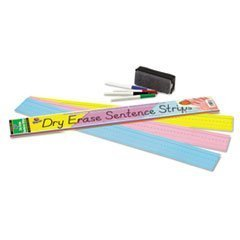 ** Dry Erase Sentence Strips, 24 x 3, Assorted: Blue/Pink/Yellow, 30/Pack by 5COU by 5COU