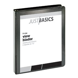 Just Basics Basic D-Ring View Binder, 1in. Rings, 38% Recycled, Black Basic D-ring