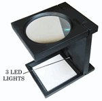 SE MA1103L Black Illuminating Jumbo Folding Magnifier, 2x Magnification (4-1/4'' Glass Lens Dia.)