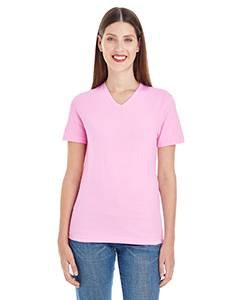 American Apparel Women's Fine Jersey Classic V-Neck Top, Pink, X-Large