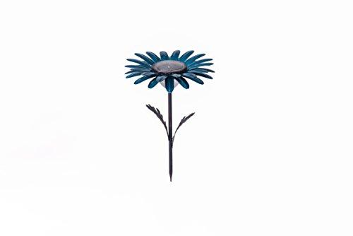 Desert Steel - Daisy Flower Outdoor 20 Lumen LED Solar Garden Light & Pathway Lamp - (18 H x 11.5 W) Teal