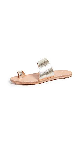 - beek Women's Finch Toe Ring Slides, Platinum/Natural, Tan, Metallic, 5 M US