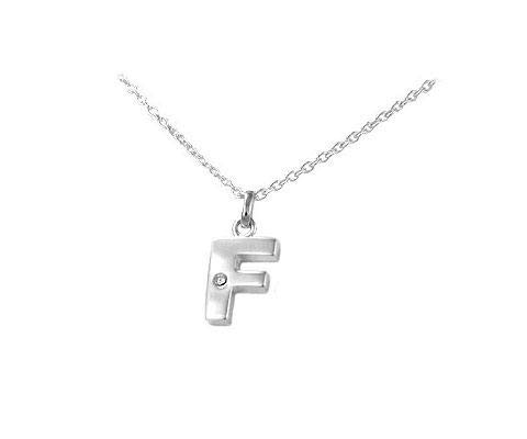 14,16,18 in Childrens Silver Diamond Initial F Pendant Necklace