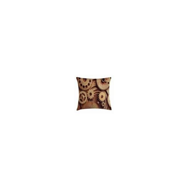 """Ambesonne Industrial Throw Pillow Cushion Cover, Inside The Clocks Theme Gears Mechanical Device Image in Steampunk Style Print, Decorative Square Accent Pillow Case, 20"""" X 20"""", Tan Brown 3"""