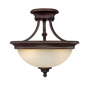 Capital Lighting 3418BB Semi-Flush Mount with Mist Scavo Glass Shades, Burnished Bronze Finish