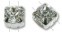 Swarovski Round 2-Hole Setting 6mm Crystal Sterling Plated (Package of 1)