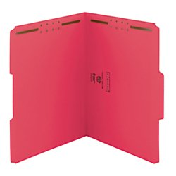 Recycled Reinforced - Smead 100% Recycled Fastener File Folder, 2 Fasteners, Reinforced 1/3-Cut Tab, Letter Size, Red, 50 per Box (12741)