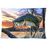 Adorable Pillow Cases Cushion Cover bass fish Pillowslip 20x30 inches Twin-sides - Case Adorable Pillow