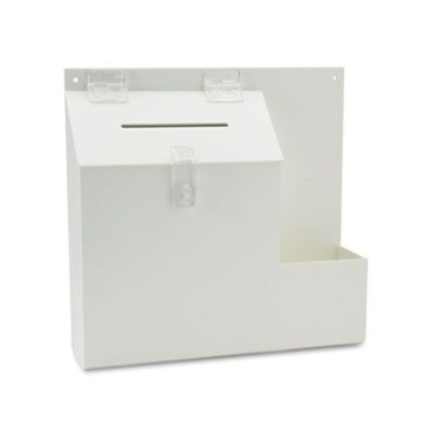 Deflect-o Plastic Suggestion Box with Locking Top, 13-3/4 x 3-5/8 x 13, White