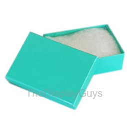 Display Gift Box Ring - The Display Guys, Pack of 100 Teal Green 2 1/8x1 5/8x3/4 inches Cotton Filled Paper Jewelry Box Gift Display Case (#11)