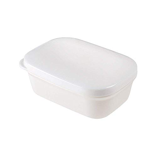 Soap Dish Container with Lid with Removable Drainer - White Square Soap Case Box for Travel Gym Shower Bathroom and Kitchen Sinks