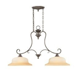 Thomas Lighting M2637-23 Regency - Two Light Island Chandelier, Colonial Bronze Finish with Tinted Light Amber Glass