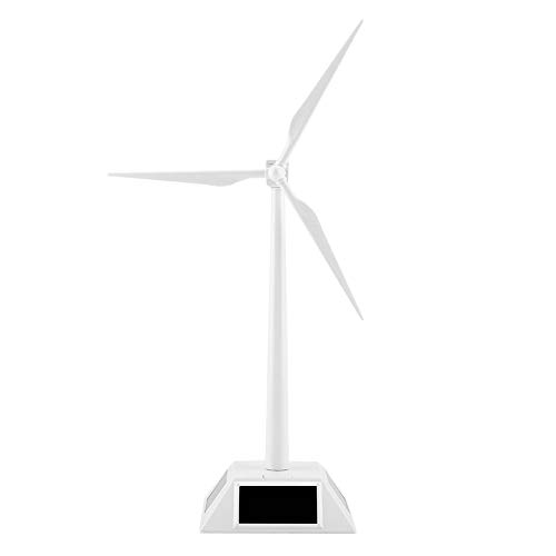 Solar Powered 3D Windmill Assembled Model Craft Kids Children Education  Learning Fun DIY Solar Toy Gift ABS Plastics Wind Turbine White for Home