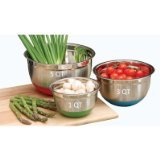 Cook Pro Stainless Steel Mixing Bowls with Non-Skid Base, Set of 3