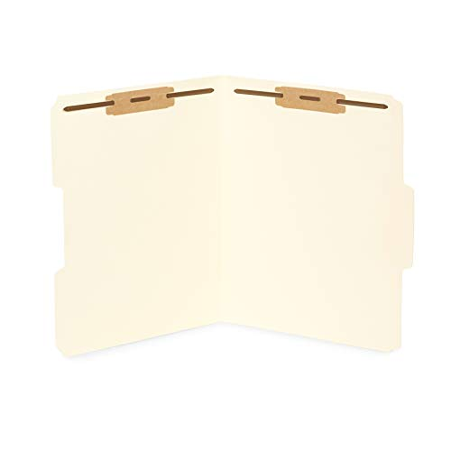 50 Manila Fastener File Folders- 1/3 Cut Reinforced tab- Durable 2 Prongs Bonded Fastener Designed to Organize Standard Medical Files, Law Client Files, Office Reports– Letter Size, Manila, 50 ()