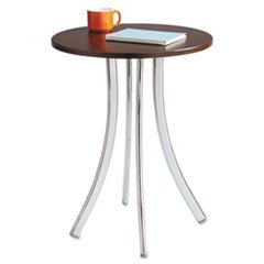 (Safco Products 5099MH Decori Wood Side Table, Tall Legs, Chrome Frame//Mahogany Top)