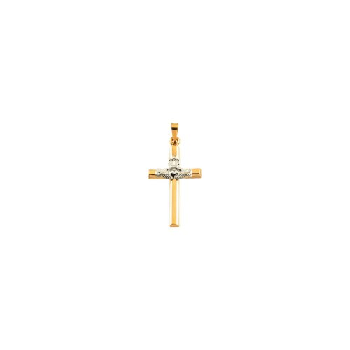 Beautiful White and yellow gold 14K Two-Tone Hollow Claddagh Cross Pendant