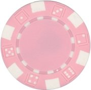 25 Clay Composite Dice Striped 11.5 gram Poker Chips, Pink