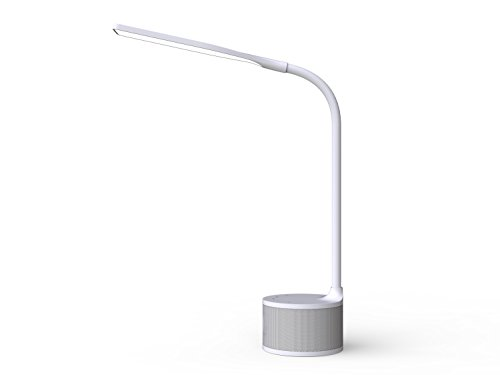 """(DAC Ergonomic LED Desktop Lamp 17"""" Flexible Gooseneck with Built-in Wireless Bluetooth Speaker, USB Charging Port, 3 Color Modes, Flicker Free Eye-caring, Smart Touch Switch for Dimmer, 6W, White)"""