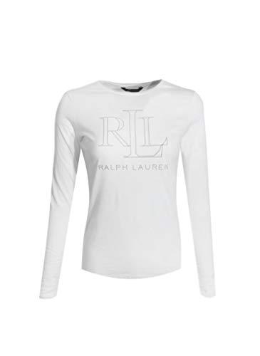 Ralph Lauren Womens Crewneck Long Sleeve Embellished RLL Logo Tee (X-Large, White)