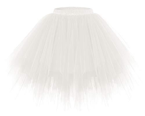 Bridesmay Women's Tutus Tulle Skirt 50s Vintage Petticoat Ballet Bubble Skirts Ivory XL -