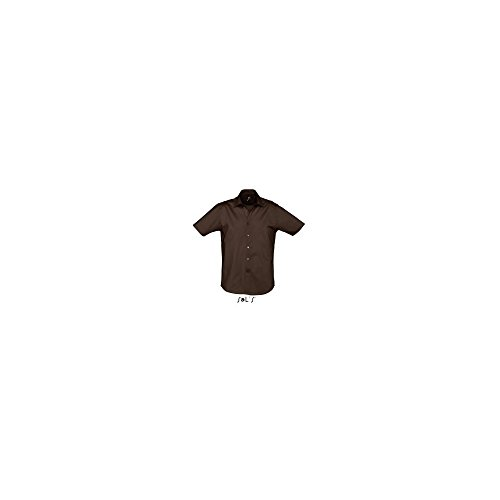 SOLS Herren Stretch-Hemd Broadway kurzarm, Dark Brown, XL