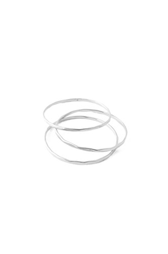 HONEYCAT Super Skinny Hammered Stacking Rings Trio Set in Gold, Rose Gold, or Silver | Minimalist, Delicate Jewelry (Silver, 6)