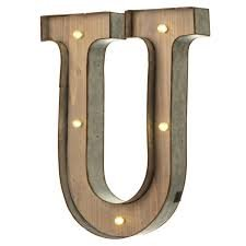 Wood Marque Sign Letter U Light Up Battery operated 14' Tall Sign