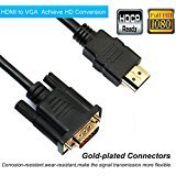 VAlinks 3m/10ft HDMI Male to VGA Male D-SUB 15 Pin M/M Adapter Converter Cable with 3.5mm Audio Output Support Signal Conversion from HDMI (Laptop, PC, DVD, TV Box) to VGA (Monitors, Projects, TV)