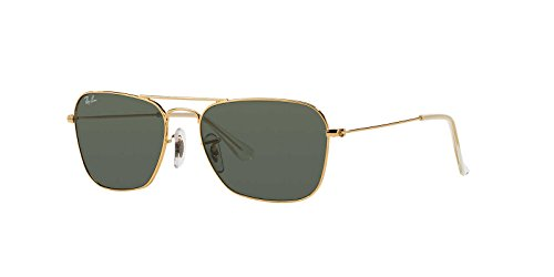 Ray-Ban Mens Caravan Sunglasses (RB3136 58) Gold Shiny/Green Metal - Non-Polarized - 58mm