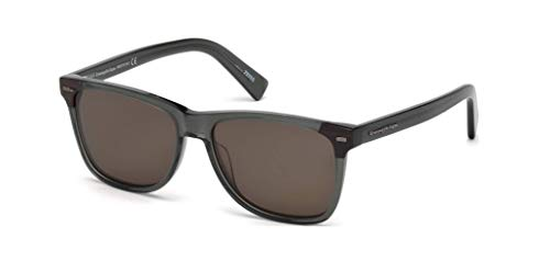 Ermenegildo Zegna EZ0082-96E Sunglasses shiny dark green frame w/brown Lens 56mm