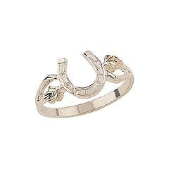 Beautiful! Authentic Black Hills Diamond-cut Gold-Sterling-silver Women's Horseshoe Ring size 7.5