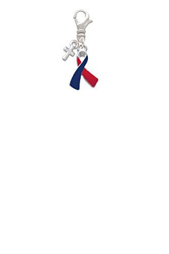 Red & Blue Awareness Ribbon Mini Cross Clip On Charm