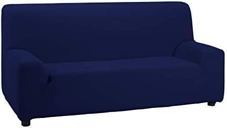 DHestia Funda Elástica y Adaptable con Elastómero, Medidas de Sillón, Azúl, Sofá 2 Plazas-130/160, Azul Marino, 130/160 cm