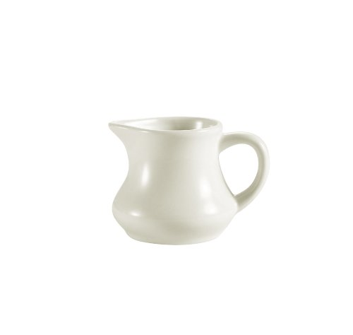 CAC China PC-4-AW 4-Ounce Stoneware Creamer, 3-1/4 by 2 by 2-1/2-Inch, American White, Box of 36 by CAC China