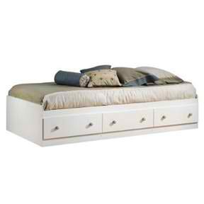 BeUniqueToday Twin Size Mates Platform Bed in White/Maple with 2 Storage Drawers, Twin Size Mates Platform Bed in White/Maple with 2 Storage Drawers Features Natural Maple Finish Wooden Knobs