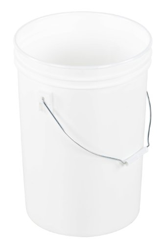 Vestil PAIL-6-PWS Plastic Open Head Pail with Steel Handle, 6 gallon Capacity, ()