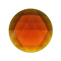 Stained Glass Jewels – 30mm Round Faceted – Dk Amber