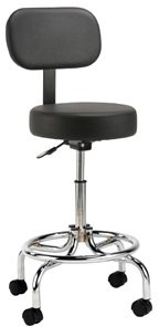 Nexel CS14BBK Comfort Stool, Height Adjustable with Backrest and Chrome Foot Ring, Black