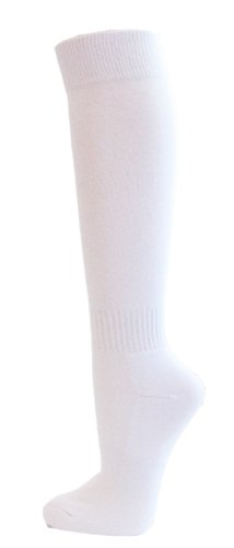 Couver Unisex Knee High Sports Athletic Baseball Softball Socks, WHITE, (Softball White Cotton)
