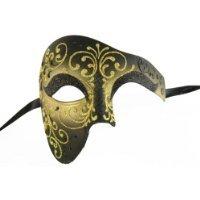 [NEW Laser Cut Venetian Design Phantom of the Opera Style Masquerade Halloween Mask - Elegantly Detailed- Gold and Black w/ Gold Lining] (Opera Eye Mask)
