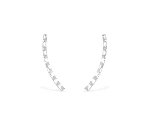 ONDAISY 14k Rhodium Plated Dainty Delicate Boho Cute Unique Helix Cartilage Long Square Hammered Bar Stick Ear Stud Post Climber Earrings For Women Girls Men ()