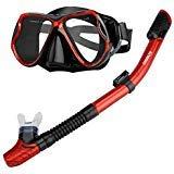 ENKEEO Scuba Diving Snorkeling Snorkel Set Anti Fog Goggles/Swimming Cap/Waterproof Phone Case/Gear Bag, Red & Black