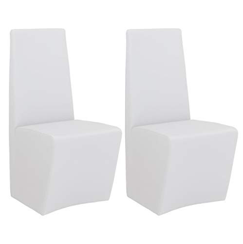 Milan Claire Fully Upholstered Modern Side Chair (Set of 2), White