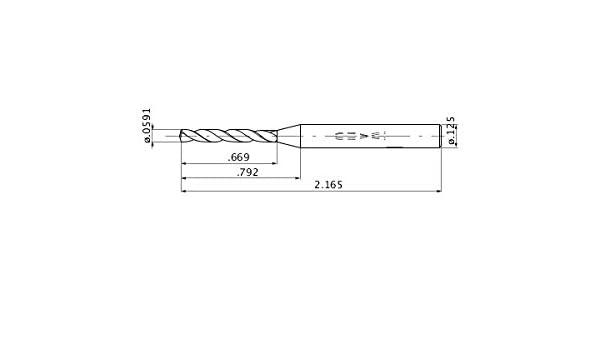 Mitsubishi Materials MZS00591LB MICRO-MZS Series Solid Carbide Drill 0.011 Point Length 5 Hole Depth Internal Coolant 0.0591 Cutting Dia 0.125 Shank Dia.