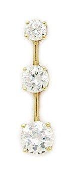 Or jaune 14 carats avec pendentif en zircone cubique 3 tours-Dimensions :  23 x 6 mm JewelryWeb -